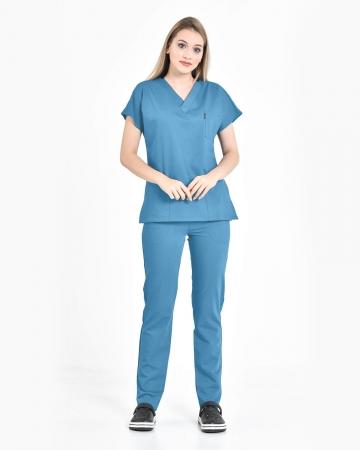 Kadın Premium Seri Relax İndigo Mavisi Yarasa Kol Doktor ve Hemşire Forması Takımı