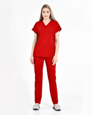 Kadın Premium Seri Relax Kırmızı Yarasa Kol Doktor ve Hemşire Forması Takımı