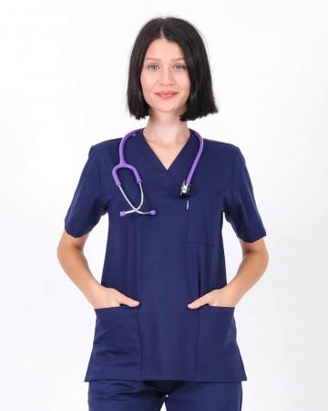 Kadın Lacivert Relax Likralı Takma Kol Doktor ve Hemşire Forması Forma Üstü