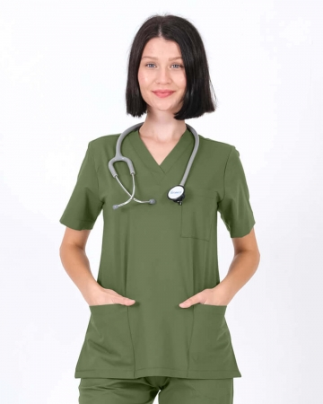 Kadın Mint Yeşili Relax Likralı Takma Kol Doktor ve Hemşire Forması Forma Üstü
