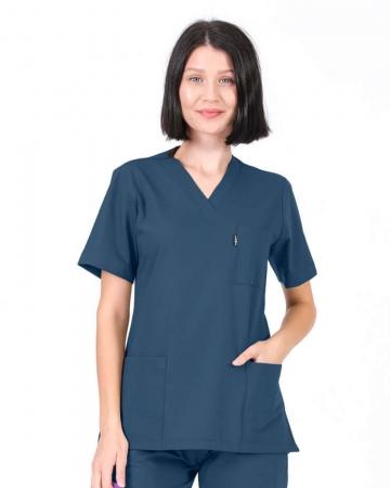 Kadın Petrol Mavisi Relax Likralı Takma Kol Doktor ve Hemşire Forması Forma Üstü