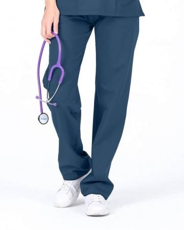 Kadın Petrol Mavisi Relax  Likralı Doktor ve Hemşire Pantolonu