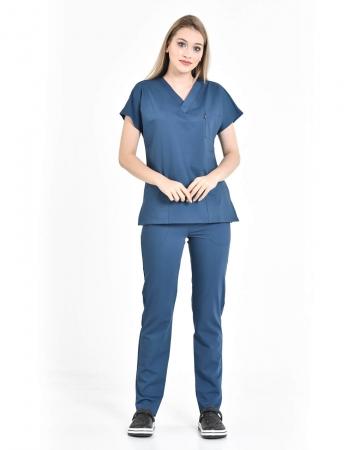 Petrol Mavisi Relax Likralı Takma Kol Doktor ve Hemşire Forması Takımı