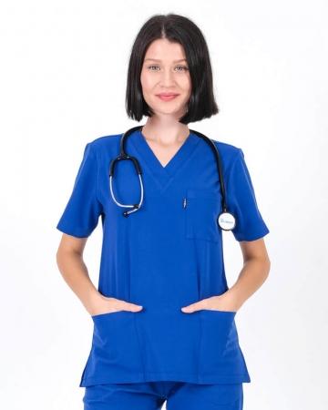 Kadın Saks Mavisi Relax Likralı Takma Kol Doktor ve Hemşire Forması Forma Üstü