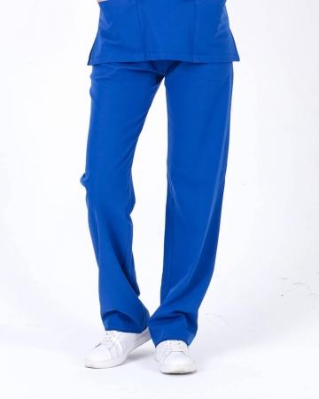 Kadın Saks Mavisi Relax  Likralı Doktor ve Hemşire Pantolonu