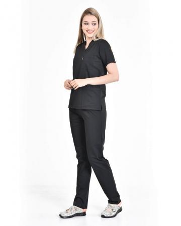 Siyah Relax Likralı Takma Kol Doktor ve Hemşire Forması Takımı