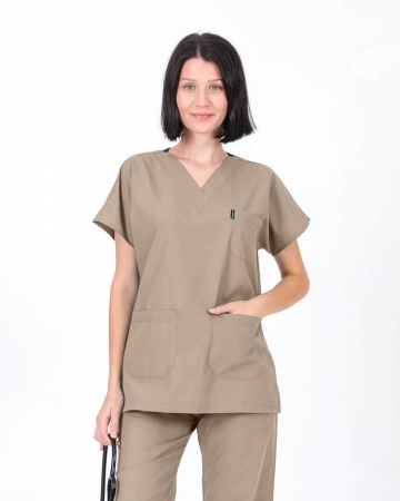 Kadın Terrycotton V Yaka Bej Doktor ve Hemşire Forması Üstü