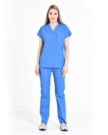 Terrycotton V Yaka Çivit Mavisi Doktor ve Hemşire Takımı