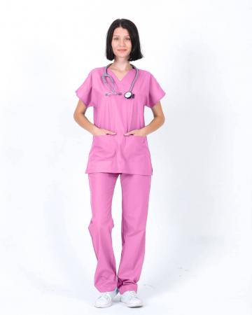 Kadın Terrycotton Gülpembe Doktor ve Hemşire Forması Takımı