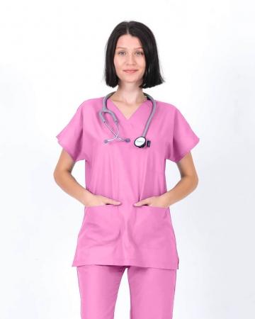 Kadın Terrycotton V Yaka Gülpembe Doktor ve Hemşire Forması Üstü