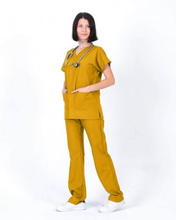 Kadın Terrycotton Hardal Doktor ve Hemşire Forması Takımı