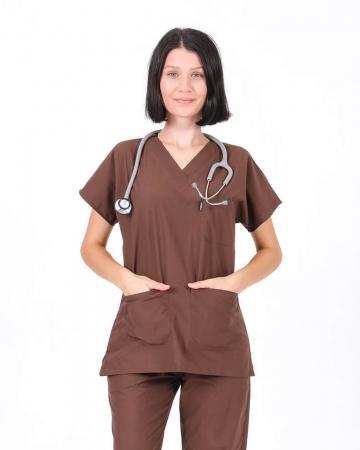 Kadın Terrycotton V Yaka Kahverengi Doktor ve Hemşire Forması Üstü