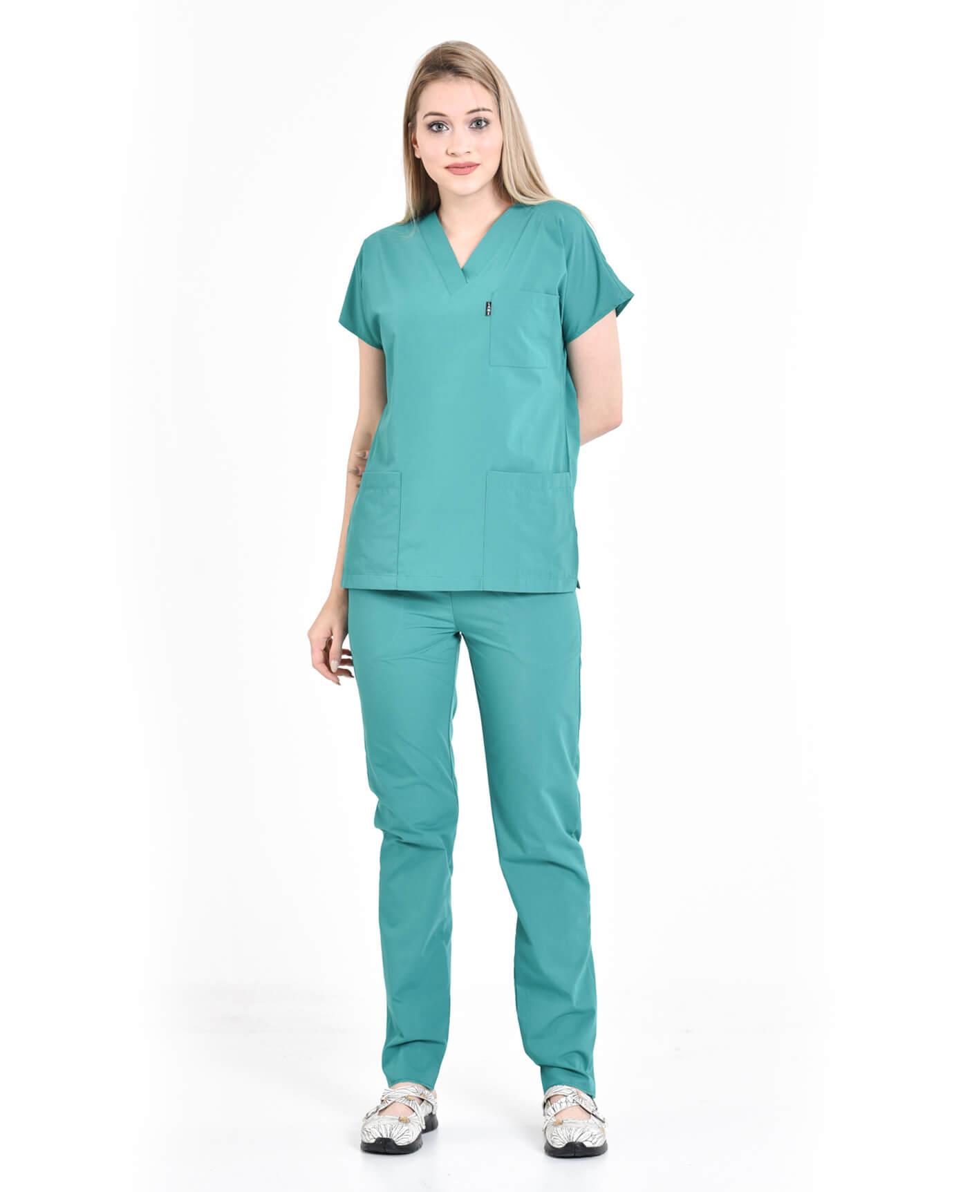 Terrycotton Hastane Yeşili Yarasa Kol Yazlık Takım