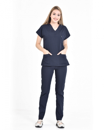 Terrycotton Lacivert Doktor & Hemşire Forması Takımı