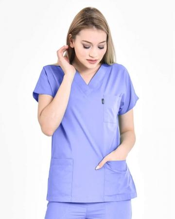 Kadın Terrycotton Buz Mavisi Doktor ve Hemşire Forması Üstü