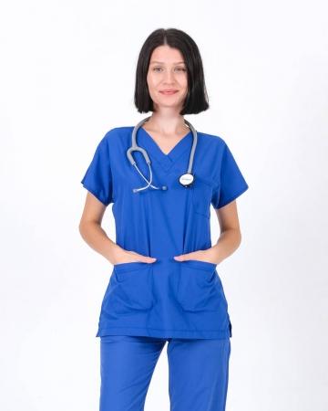 Kadın Terrycotton V Yaka Saks Mavisi Doktor ve Hemşire Forması Üstü