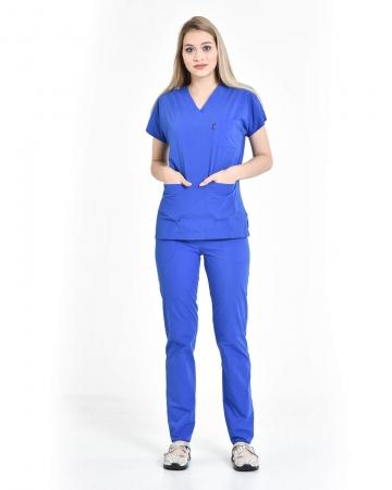 Terrycotton V Yaka Saks Mavisi Takım Doktor ve Hemşire Takımı