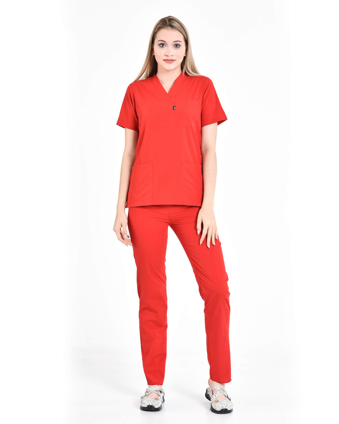 Terrycotton Kırmızı Takma Kol Yazlık Takım