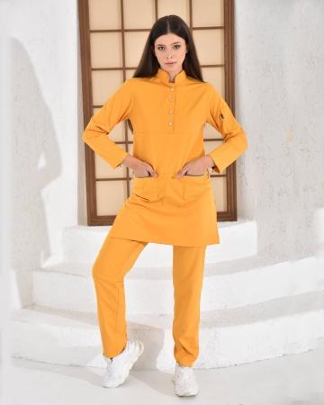 Tesettür Düğmeli Doktor Hemşire Forması Hardal Takım Premium Likralı Seri Relax