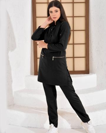 Tesettür Düğmeli Doktor Hemşire Forması Siyah Takım Premium Likralı Seri Relax