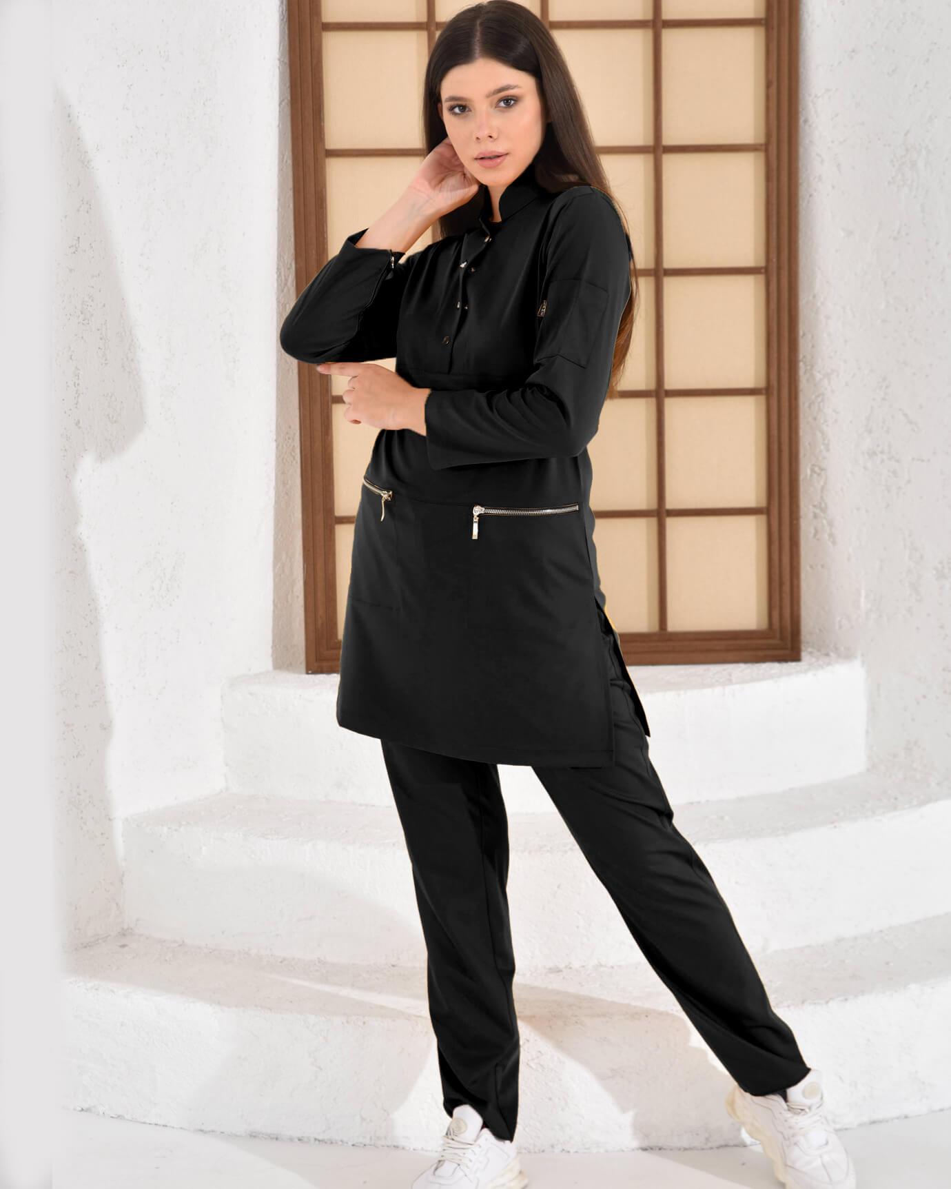 Tesettür Çıtçıtlı Kol Cepli Siyah Takım Premium Likralı Seri Relax