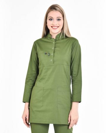 Tesettür Fermuarlı Asker Yeşili Forma Üstü 100% Pamuk Likralı Tesettür Hemşire Forması