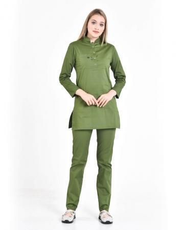 Tesettür Fermuarlı Doktor Hemşire Forması Asker Yeşili Takım 100% Pamuk Likralı