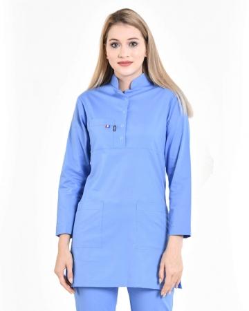 Tesettür Fermuarlı İndigo Mavisi Forma Üstü 100% Pamuk Likralı Tesettür Hemşire Forması