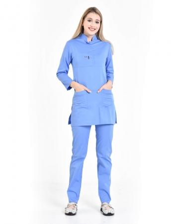 Tesettür Fermuarlı Doktor Hemşire Forması İndigo Mavisi Takım 100% Pamuk Likralı