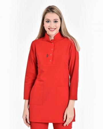 Tesettür Fermuarlı Kırmızı Forma Üstü Terrycotton Tesettür Hemşire Forması