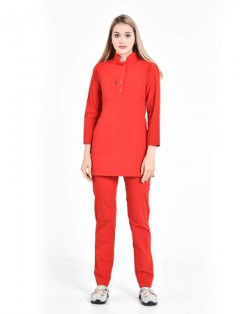 Tesettür Fermuarlı Doktor Hemşire Forması Kırmızı Takım Terrycotton