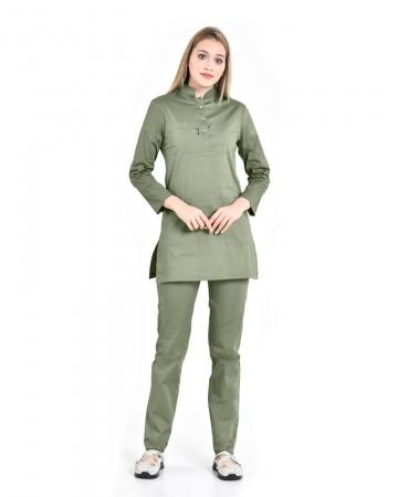 Tesettür Fermuarlı Doktor Hemşire Forması Mint Yeşili Takım Premium Likralı Seri Relax
