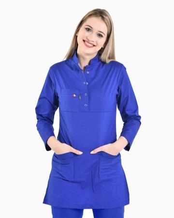 Tesettür Saks Mavisi Forma Üstü 100% Pamuk Likralı Tesettür Hemşire Forması
