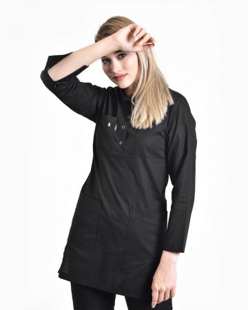 Tesettür Fermuarlı Siyah Forma Üstü 100% Pamuk Likralı Tesettür Hemşire Forması