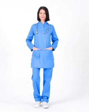 Tesettür Doktor Hemşire Forması İndigo Mavisi Takım 100% Pamuk Kumaş ve Likralı