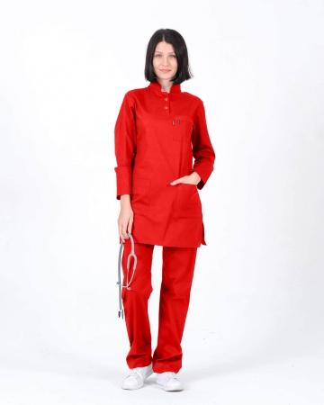 Tesettür Doktor Hemşire Forması Kırmızı Takım Terrycotton Kumaş