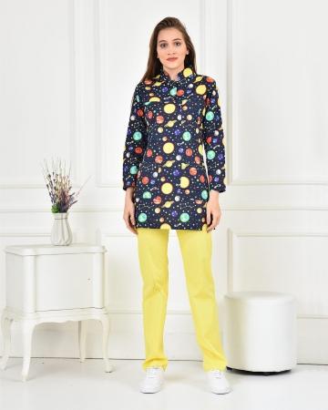 Tesettür Uzay Desenli Takım %100 Pamuk Likralı Sarı Pantolon