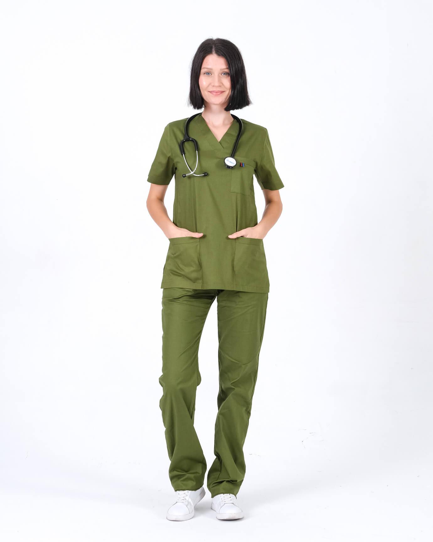 %100 Pamuk Likralı Takma Kol Asker Yeşili Takım