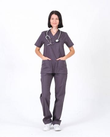 Kadın %100 Pamuk Likralı Takma Kol Gri Doktor ve Hemşire Forması Scrubs Takımı