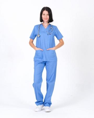 Kadın %100 Pamuk Likralı Takma Kol İndigo Mavisi Doktor ve Hemşire Forması Scrubs Takımı