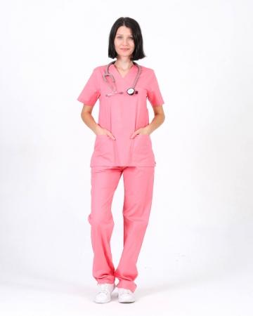 Kadın %100 Pamuk Likralı Takma Kol Mercan Doktor ve Hemşire Forması Scrubs Takımı