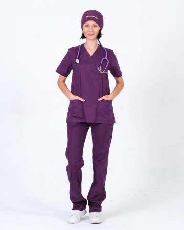 Kadın %100 Pamuk Likralı Takma Kol Mürdüm Doktor ve Hemşire Forması Scrubs Takımı