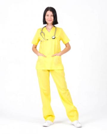 Kadın %100 Pamuk Likralı Takma Kol Sarı Doktor ve Hemşire Forması Scrubs Takımı