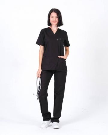 Kadın %100 Pamuk Likralı Takma Kol Siyah Doktor ve Hemşire Forması Scrubs Takımı