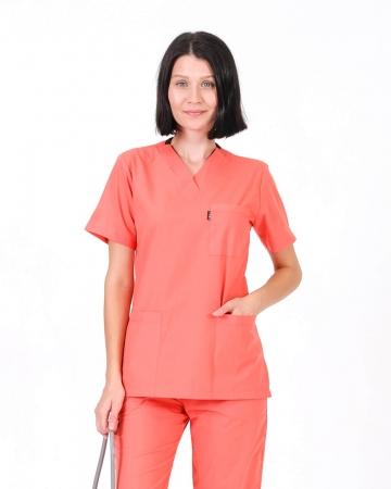 Kadın Terrycotton V Yaka Takma Kol Somon Doktor ve Hemşire Forması Üstü