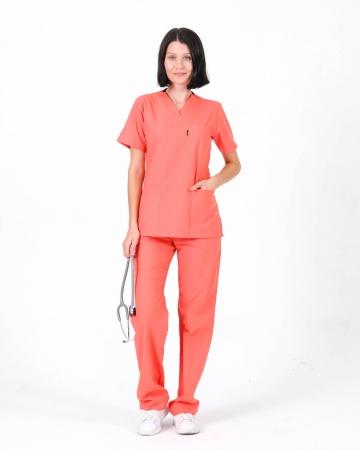 Kadın Terrycotton Takma Kol Somon Doktor ve Hemşire Forması Takımı