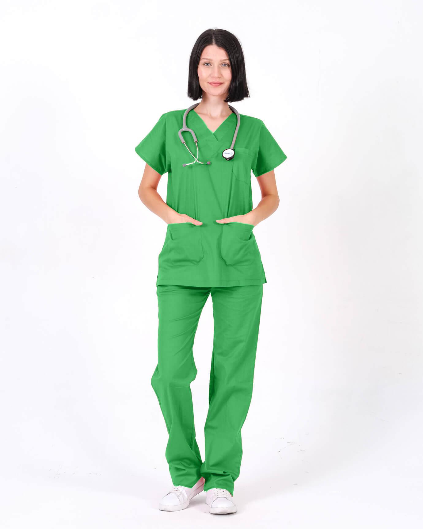 %100 Pamuk Likralı Benetton Yeşili Yarasa Kol Yazlık Takım