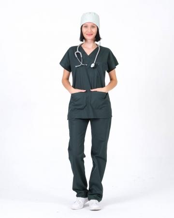 %100 Pamuk Likralı Haki Doktor ve Hemşire Forması Takımı