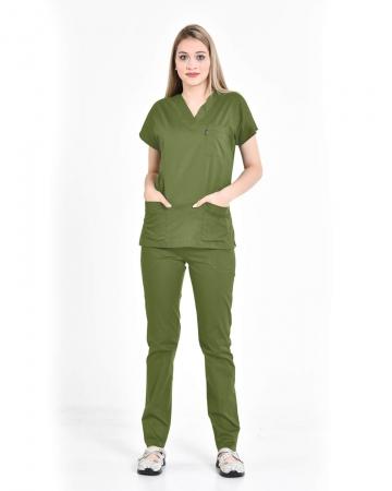 Kadın V Yaka Yarasa Kol Terrycotton Asker Yeşili Scrubs Takım