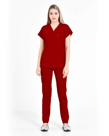 Kadın V Yaka Yarasa Kol Terrycotton Koyu Kırmızı Scrubs Takım